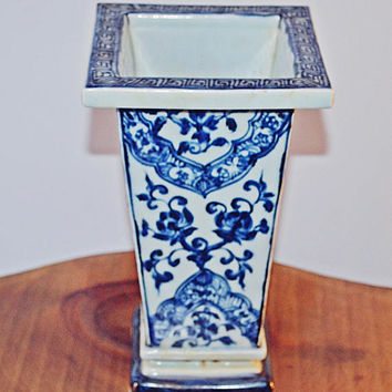 Asian Rectangular Brush Pot, Blue And White Vase, Chinese Collectible