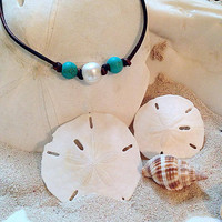 Single Pearl & Turquoise Necklace