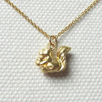 Squirrel Necklace Gold Charm Necklace,Woodland Animal Jewelry Tiny Dainty Pendant Choose Gold Plate or 14k Gold Fill Chain, Quirky Petite