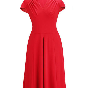 V-neck Short Sleeve Sheath A-Line Pleated Midi Dress
