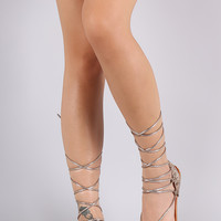 Python Toe Ring Lace-Up Gladiator Flat Sandal