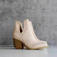 vegan suede side cut out bootie with metal tip
