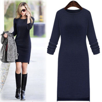 Women's Trending Popular Fashion 2016 Knit Extra Plus Size Slim Long Long Sleeve Casual Party Playsuit Clubwear Bodycon Boho Dress A-line