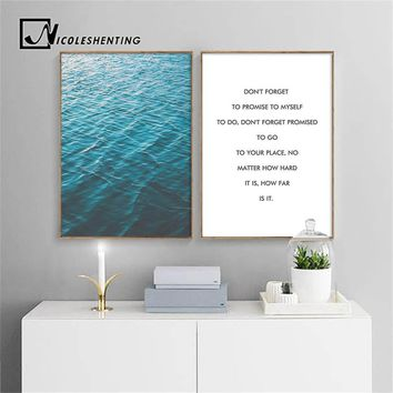 Ocean Blue Sea Landscape Wall Art Canvas Poster Nordic Style Minimalist Print Painting Wall Picture for Living Room Home Decor