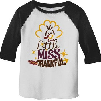 Girl's Funny Toddler Thanksgiving Shirt Little Miss Thankful Graphic Tee 3/4 Sleeve Raglan