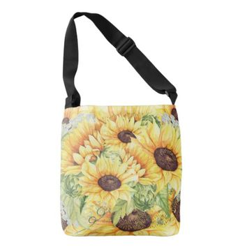 Watercolor Yellow Sunflowers Greenery Totes