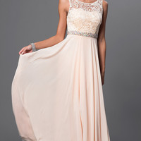 Long Sleeveless Dress with Lace Top and Embellished Waist