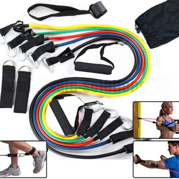hot sale high quality 11 piece Home WorkOut Resistance Bands Kit Set Abs Fitness Yoga Gym Build Muscle = 1932294980