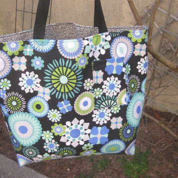 Large Knitting Bag in black teal turquoise blue floral Beach, Books, Bridesmaids,or Diapers REVERSIBLE