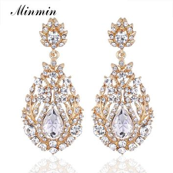 Luxury Long Earrings for Women Bohemia Style Gold-color Dangle Earrings with Crystal