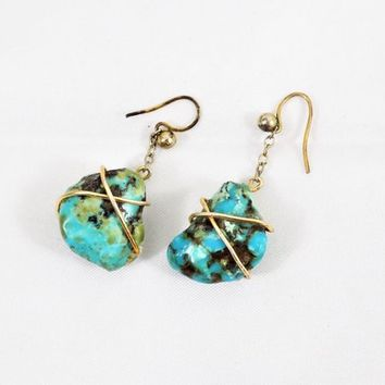 Turquoise Nugget Drop Earrings, Pierced Wire, Hand Crafted, Vintage Earrings