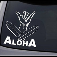 "(2x) Hawaii Aloha Shaka Hang Loose Surfboard Sign Vinyl Decal Sticker 6"" X 5.5"""