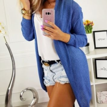 Explosive casual solid color sweater cardigan coat sweater