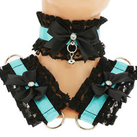 Kitten play collar and cuffs black turquoise, lolita, ddlg, bdsm collar, kittenplay, pastel gothic, goth kawaii, Pet play, puppy Princess C2