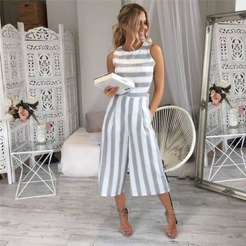 Summer Women's Fashion Stripes Sleeveless Backless Pants [10507722951]