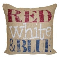 Americana ''Red White & Blue'' Throw Pillow (Natural)