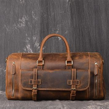 Vintage Crazy Horse Genuine Leather Travel Bag Men Duffel bag big Cow Leather Carry On Luggage Weekend large shoulder Bag