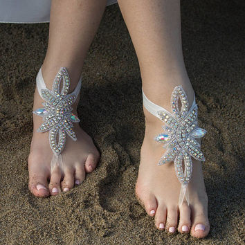 Rhinestone anklet, FREE SHIP Beach Pool, Sexy, Yoga, Anklet Beach wedding barefoot sandals, Steampunk,