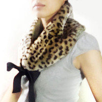 Faux Fur Scarf, Collar (Leopard Spots) with Ribbon Tie