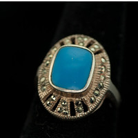 Fabulous Art Deco Sterling Silver Vintage Marcasite Ring with Bezel Set Turquoise Blue Stone