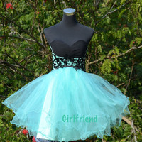 Charming Green Tulle Strapless Custom-made Applique Prom Dress, Homecoming Dress, Bridesmaid Dress
