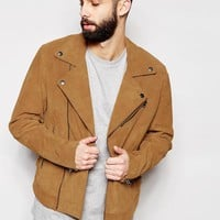 ASOS | ASOS Suede Biker Jacket In Tan at ASOS