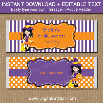 Kids Halloween Party Favors - Halloween Chocolate Bar Wrappers - Printable Kids Halloween Favors - Cute Halloween Labels - Witch Labels WDS