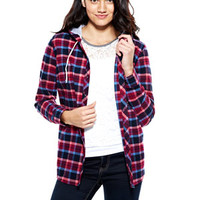 Hooded Plaid Shirt - Pink Multi