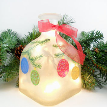 Christmas Ornament Lighted Bottle Frosted Hand Painted