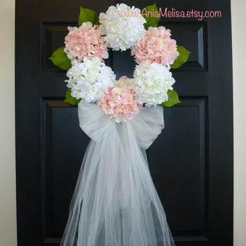 Summer Wreath Front Door Wreaths, Wreaths For Door Wedding Wreaths  Hydrangea Wreath, F