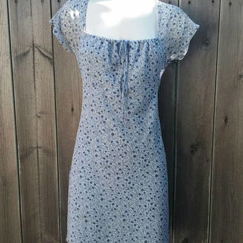 a313e03bf9232 Vintage 1990s Blue Floral Print Mini Dress 90s Babydoll Pastel Flowers