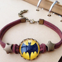 Justice League Batman and superman bracelet, retro time gem Leather bracelet = 1945958084