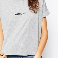 ASOS Cropped T-shirt with WHATTHEFUNK Print