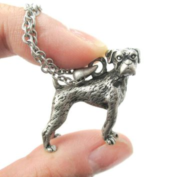 Realistic Boxer Dog Shaped Animal Pendant Necklace in Silver | Jewelry for Dog Lovers