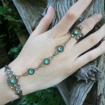 Swarovski slave bracelet turquoise hand chain hand flower slave ring bohemian Renaissance victorian moon goddess pagan boho gypsy style