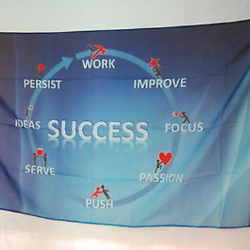 Success Motivational Funny office room basement Poster Office FLAG Banner 3x5