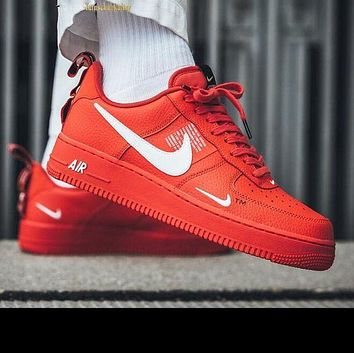 NIKE AIR FORCE 1 07 LOW Fashion Women Men Running Sports Shoes Sneakers Red 849b3fc84c80