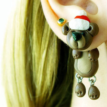 Christmas bear, fake gauge, Xmas plug, brown two part earrings, child gift, front back , Unique faux gauge, unusual tunnels