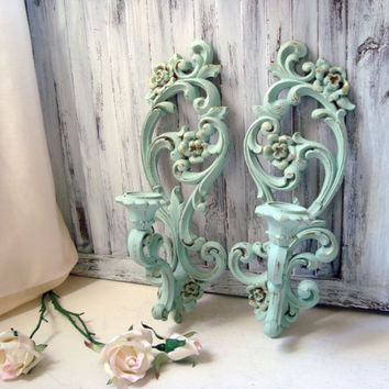 Mint Green Vintage Wall Sconces, Pastel Green Ornate Candle Holders, Shabby Chic, Cottage Chic, Green and Gold Wall Sconces