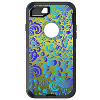 DistinctInk™ OtterBox Defender Series Case for Apple iPhone / Samsung Galaxy / Google Pixel - Green Blue Teal Floral Pattern