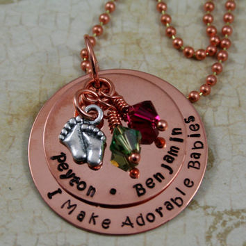"Personalized Hand Stamped ""I Make Adorable Babies"" Copper Necklace"