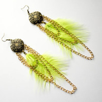 Gorgeous bright, bright lime green feather earrings, with marabou feathers and gold chains that dangle so gracefully