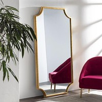Clifton Elegant Gold Leaf Floor Mirror