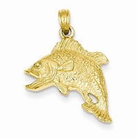 14k Gold Jumping Bass Fish Pendant
