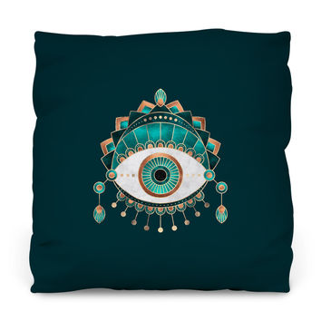 Teal Eye Outdoor Throw Pillow