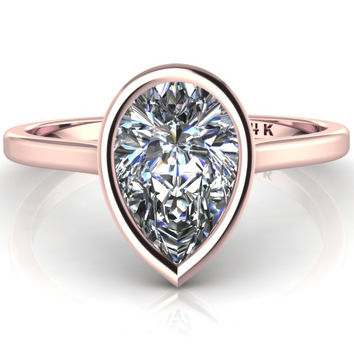 14K Rose Gold Pear Shape Moissanite Minimalist Bezel Set Engagement Ring