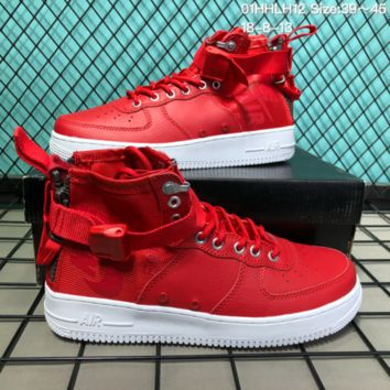 KUYOU N217 Nike SF Air Force 1 Mid Leather Canvas Skate Shoes Red White