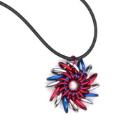 Patriotic Chainmail Pendant Whirlybird Style, Renaissance Jewelry