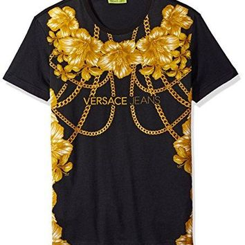 Versace Jeans Men's Gold Chain Versace T-Shirt, Nero,