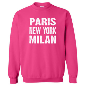 Paris New York Milan Tshirt - Heavy Blend™ Crewneck Sweatshirt